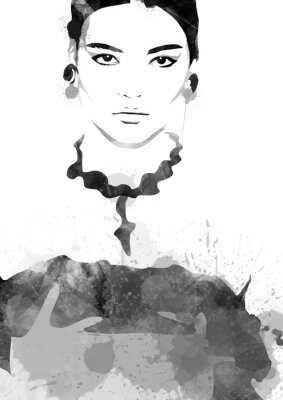 Affisch Watercolor painting fashion woman black and white