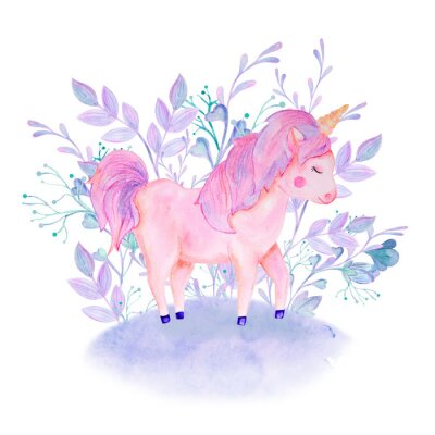 Affisch watercolor pink, lilac unicorn composition with flowers