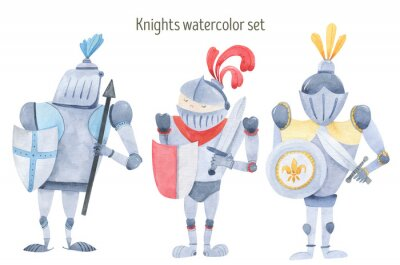 Affisch Watercolor set of knights swords, shields, armor