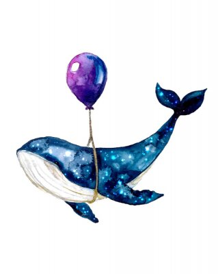 Affisch Watercolor sketch blue whale. Illustration isolated on white background for design,print or background. cosmic texture with balloon. Night starry sky with paint strokes and swashes