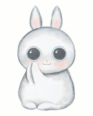 Affisch White kawaii cartoon cute little rabbit with big eyes isolated on white background. Watercolor hand drawn illustration