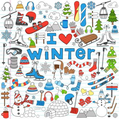 Affisch Winter Fun Tillbaka till skolan Notebook Doodles- vektorillustration