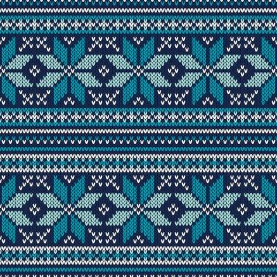Affisch Winter Holiday Seamless Stickad mönster. Fair Isle Sweater Desig