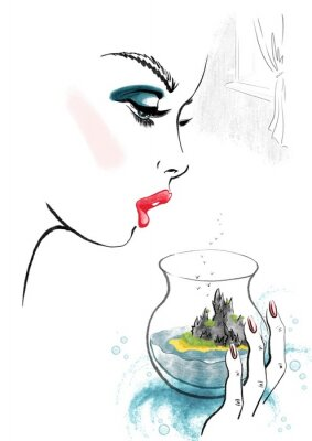 Affisch Woman and Island in Glass