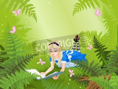 Affisch Wonderland Alice läsa en bok på ormbunke gräsmatta
