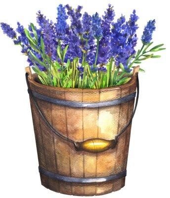 Affisch Wooden bucket with lavender