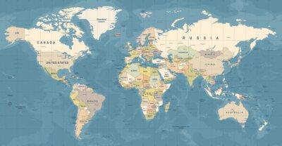 Affisch World Map Vector. Detaljerad illustration av världskarta