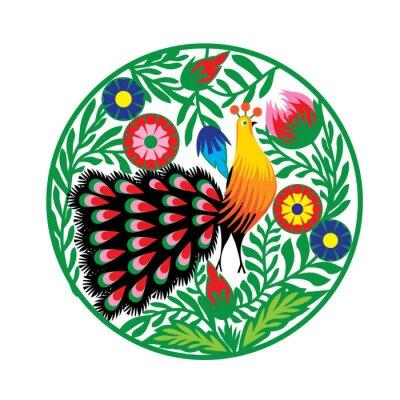 Affisch wzór Ludowy z kwiatami jag pawiem, łowicki