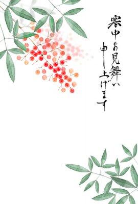 Affisch 南天の実 寒中見舞い 背景 水彩 イラスト