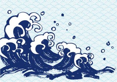 Affisch 海 毛筆 水色