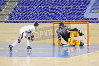 Affisch BARCELONA - 26 januari: Oriol Vives av IHC och Eitor Egurrola av FCB i aktion på spanska OK League match mellan FC Barcelona och Igualada HC, slutresultatet 4-5, den 26 januari, 2013 i Palau Blaugra