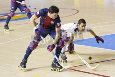 Affisch BARCELONA - 26 januari: Sergi Miras av FCB i aktion på spanska OK League match mellan FC Barcelona och Igualada HC, slutresultatet 4-5, den 26 januari, 2013 i Palau Blaugrana, Barcelona, Spanien