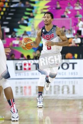 Affisch Derrick Rose i USA Team i aktion på FIBA VM basket match mellan USA och Mexiko, slutresultatet 86-63, den 6 september, 2014 i Barcelona, Spanien