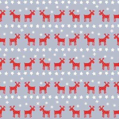 Affisch Enkel seamless retro jul mönster - Xmas renar, stjärnor och snöflingor. Gott Nytt År bakgrund. Vektordesign för vintern semester på grå bakgrund.
