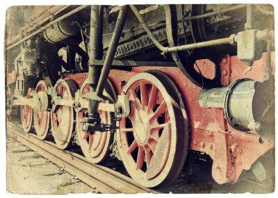 Affisch Ånga tågets hjul
