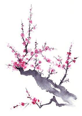 Affisch 梅 水墨画