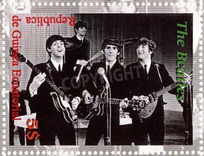 Affisch REPUBLIKEN GUINEA ECUTORIAL � cirka 2003: The Beatles - 1980 berömda musikalisk popgrupp.