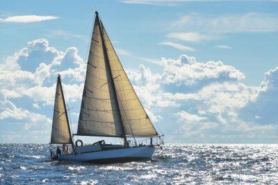 Affisch Yacht segling på en solig dag i Riga bukten