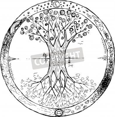 Affisch Yggdrasil celtic tree of life mandala