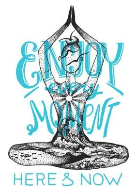 Affisch Yoga meditation utgör. Grafisk vektor handgjord illustration