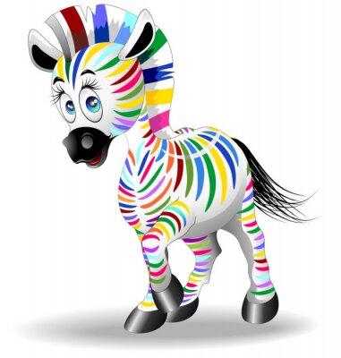 Affisch Zebra tecknad fyrfärg fyra - Color Process - Zebra vektor