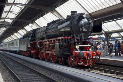 Affisch Zurich, Schweiz - 4 juni 2011: Ett tåg med en renoverad Pacific 01 202 ånglok är redo att avvika från Zürich centralstationen (Hauptbahnhof).