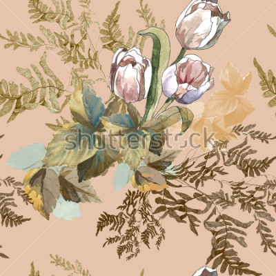 Canvastavlor 3 white tulips and grass watercolor on pink beige background seamless pattern for fabrics, paper