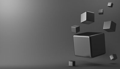 Canvastavlor 3d bakgrund metall kuber