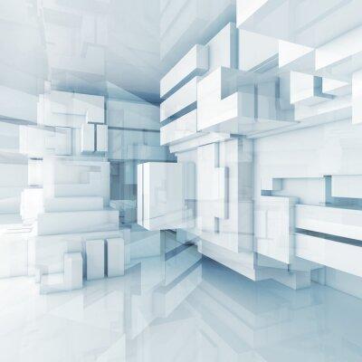 Canvastavlor 3d blå högteknologiska bakgrund med kaotiska kuber