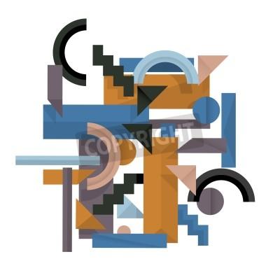 Canvastavlor 3d geometriska bakgrund i kubismen stil