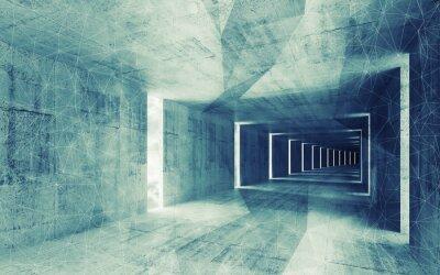 Canvastavlor 3d, grön blå tonad abstrakt tom konkreta interiör bac