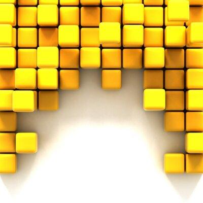 Canvastavlor 3d illustration av gula kuber