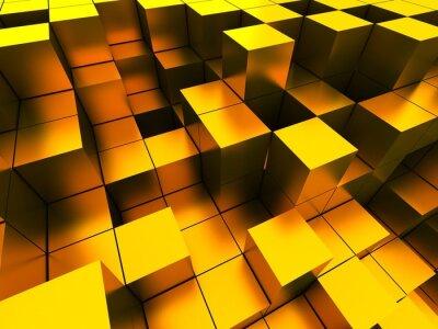 Canvastavlor 3d illustration av gyllene kuber