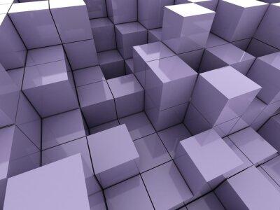Canvastavlor 3d illustration av violett kuber