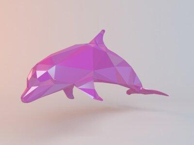 Canvastavlor 3D rosa låg poly (delfin) i en vit scen med hög framför kvalitet för att användas som en logotyp, medalj, symbol, form, emblem, ikon, barns berättelse, eller någon annan användning.