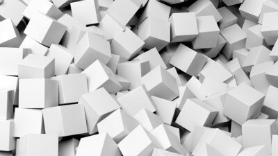 Canvastavlor 3D vita kuber högen abstrakt bakgrund