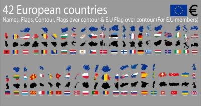 Canvastavlor 42 europeiska länder