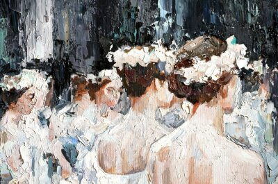 Canvastavlor  A group of beautiful graceful ballerinas in white dresses and with flowers in hair, in the theater are preparing for the performance. Oil painting on canvas.