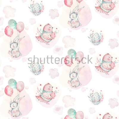 Canvastavlor A watercolor spring illustration of the cute easter baby bunny. Rabbit cartoon animal seamless pattern with balloon nd bird