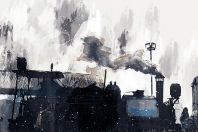 Canvastavlor Abstract painting of vintage train with smoke, digital painting