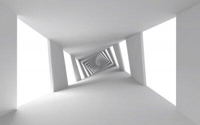Canvastavlor Abstrakt 3d bakgrund med vita vridna spiral korridor