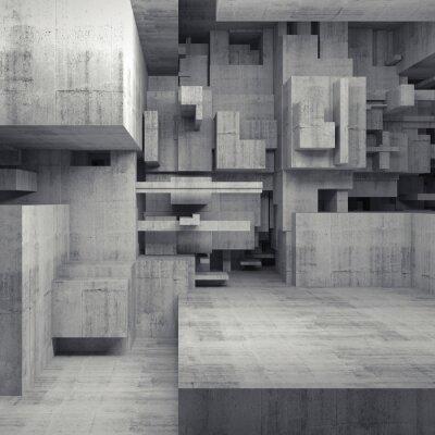 Canvastavlor Abstrakt 3d betong interiör med kaotiska kuber