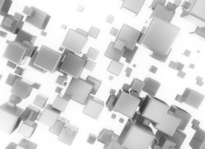 Canvastavlor Abstrakt 3d digital cubesisolated på vit bakgrund