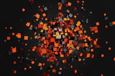 Canvastavlor Abstrakt 3d flygande kuber.