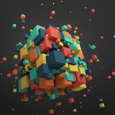 Canvastavlor Abstrakt 3D-rendering of Flying kuber.