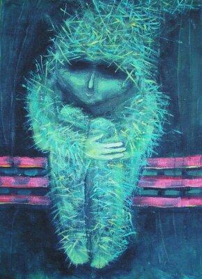 Canvastavlor Abstrakt akrylmålning. Ensamhet annars grön lilla människan. Inredning.