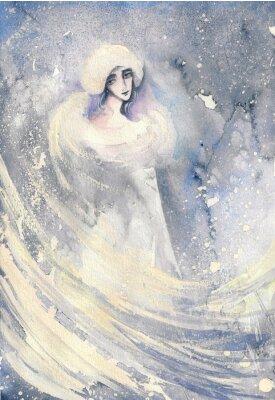 Canvastavlor Abstrakt akvarell illustration som visar ett porträtt av en kvinna vintern