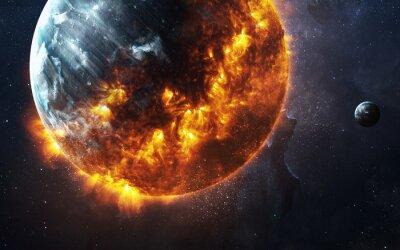 Canvastavlor Abstrakt apokalyptisk bakgrund - bränning och exploderande planet. Denna bildelement som tillhandahålls av NASA