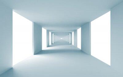 Canvastavlor Abstrakt arkitektur 3d bakgrund, tom blå korridor