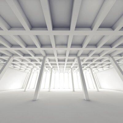 Canvastavlor Abstrakt arkitektur, tom white room 3 d